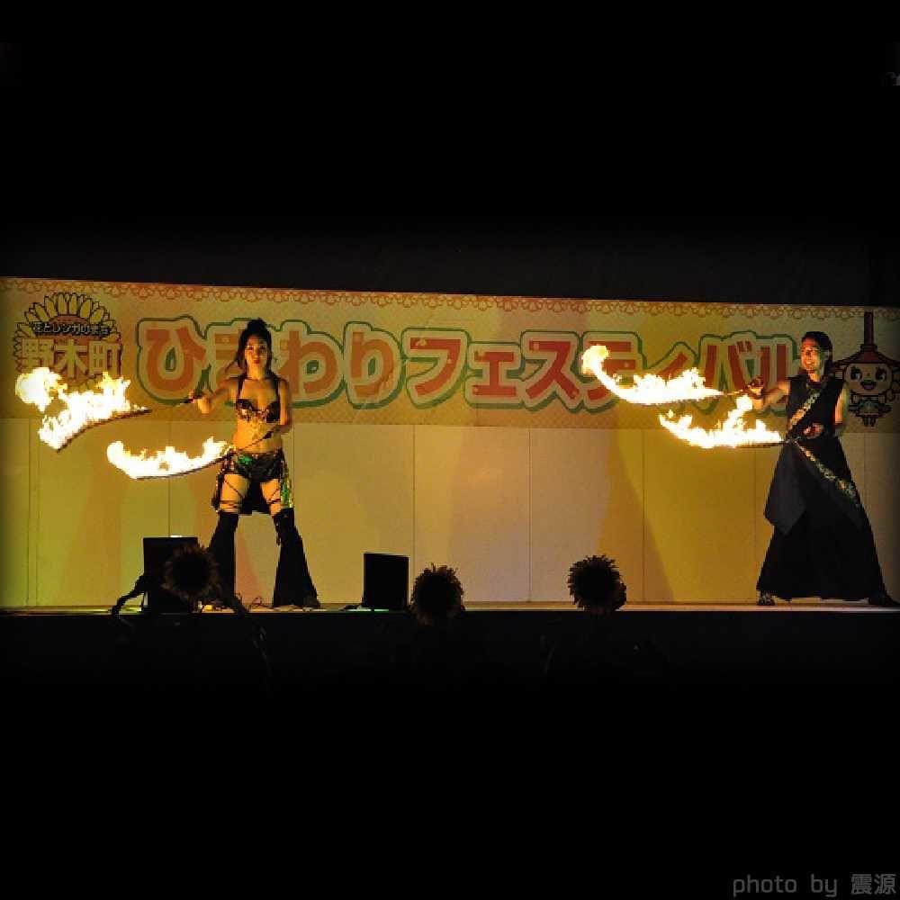 野木町ひまわりフェスティバルでの火付盗賊ファイアーショー