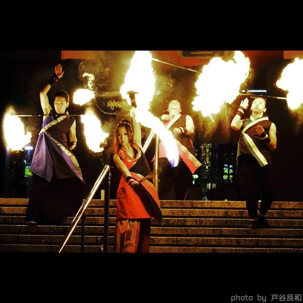 大道芸フェス大須大道町人祭の大須観音前でファイアーショー