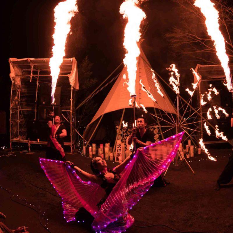 音楽系アウトドアフェス西遊記での火付盗賊ファイアーショー