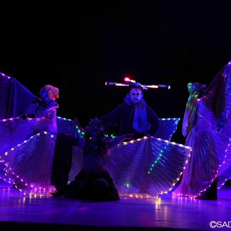 女性ダンサーのライトパフォーマンス群舞